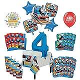 Mayflower Products きかんしゃトーマス タンクエンジン 4歳の誕生日パーティー用品 8つのゲストデコレーションキットとバルーンブーケ
