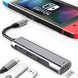 RREAKA USB Type C to HDMI Digital AV Multiport Hub, USB-C (USB3.1) Adapter PD Charger for Nintendo Switch,Portable 4K HDMI Do