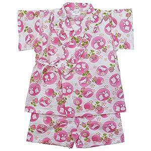 《盛夏 甚平》(ジンベイ) 日本製ベビー女児 リップル生地うさぎと花甚平スーツ 90cm/OW NO.OG-75572