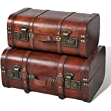 vidaXL 2X Wooden Treasure Chests with Latches Top Handle Portability Different Sizes Storage Box Organiser Case Trunk Vintage