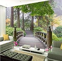 Mingld カスタム3D写真の壁紙小さな橋の風景リビングルームの寝室のソファの背景森の壁画の壁紙3D-250X175Cm