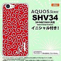 SHV34 スマホケース AQUOS SERIE ケース アクオス セリエ イニシャル 唐草 赤×ピンク nk-shv34-1132ini O