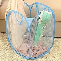【ノーブランド品】 ホーム 折り畳み式 ランドリー バスケット 衣類 洗濯バッグ メッシュ ストレージ 6色選べる - 赤