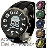 Bel Air Collection FSD02 ダイアルのど真ん中にスカルを配置 6色展開 ユニセックス 腕時計 (ピンク)