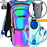 SoJourner Bags Rave Hydration Pack Backpack - 2L Water Bladder Included for Festivals Raves Hiking Biking Climbing & Running (Luminous - Green)