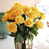 Venkaite バラ 造花 手作りブーケ 薔薇 フラワーアレンジ かわいい 花束 お祝いの結婚式のパーティーの花 インテリア飾 10本セット (イエロー)