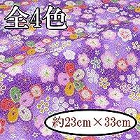 【INAZUMA】ちりめん金なしはぎれ/カットクロス 約23×33cm 桜柄 C-148-BG青