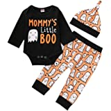 3PCS Baby Girls Boys Halloween Outfits Pumpkin Tops Ghost Leggings Pants with Csarf Hat Clothes Set