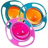 Song Qing Magic Gyro Bowl Baby Kids Gyroscopic 360 Degree Rotate Spill-Proof Bowl (3pcs (Blue + Green + Rose))