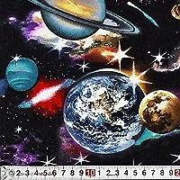 ES-3488 惑星 シーニック/ブラック コットンプリント生地