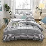 Lausonhouse Doona Cover Set, 100% Cotton Seersucker Stripe Quilt Cover Set - King Grey