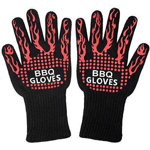 VIKEEPRO 耐熱グローブ バーベキューグローブ BBQ専用手袋 最高防耐熱温度500℃(932 °F)耐熱防水 滑り止め2個セット (Fire)