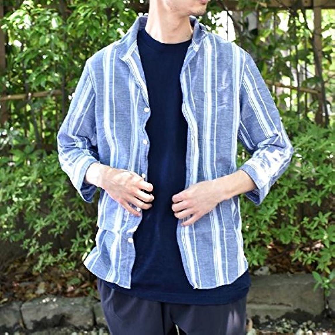 脱臼する悪性の脱臼するシップス(メンズ)(SHIPS) SU: 【COOL MAX】リネンシャツ ワイヤー 7スリーブ【コバルトブルー/LARGE】