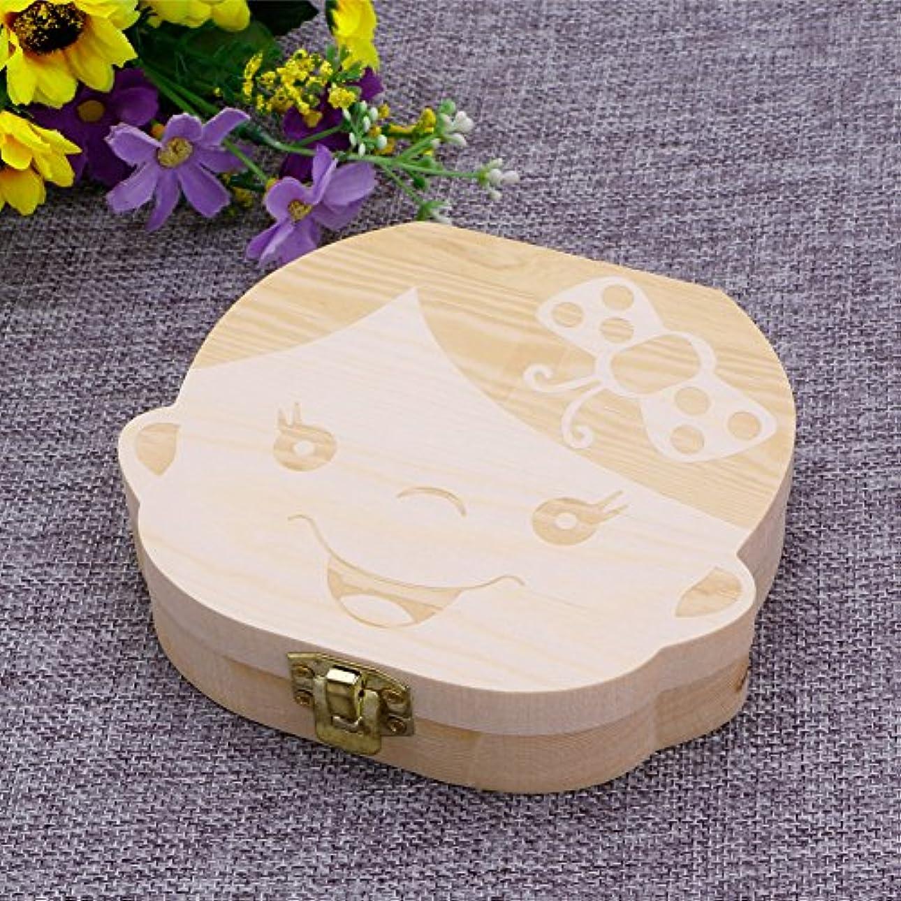 水分ドア迷路jackyee Kids Tooth Box Organizer Baby Save Milk Teeth Wood Storage Box For Boy&Girl English Baby落葉性無垢材ボックス-女の子