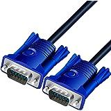 ディスプレーケーブル VGA ケーブル (オス-オス)スリムD-Sub 15ピン 延長ケーブル 金メッキコネクタ 高解像度 ディスプレイ、テレビ デ、プロジェクター、HDTV等に適用 (1.5m)