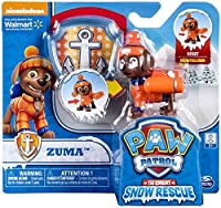 Paw Patrol Snow Rescue - Zuma with Transforming Pup Pack and Badge -
