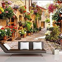 Xbwy 花の壁紙付きの壁の牧歌的な町ロードハウスのための3D壁の壁画リビングルームテレビソファ背景3Dの壁紙-150X120Cm