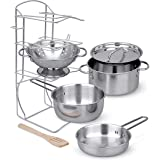Click N' Play Stainless Steel Cookware Pots and Pans with Pot Rack Organizer And Cooking Utensil Pretend Play Kitchen set for