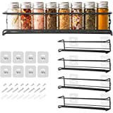 COSANSYS Spice Racks Organiser - 4 Tier Hanging Stainless Steel Spice Racks Wall Mounted with Adhensive Stickder & Screws - K