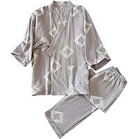 Aculldo パジャマ メンズ ねまき レディース ルームウェア 和風 甚平 浴衣 二重 ガーゼ 前開き 五分袖 通気…