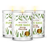 Magnificent101 Pure Sage Smudge Set of 3 Candles for House Energy Cleansing, Banish Negative Energy I Purification and Chakra