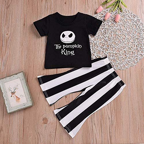 Halloween Toddler Baby Girls Clothes Pumpkin King T-Shirt+Flare Stripe Pants Fall Clothing Sets Kid Outfit (Black, 12-18 Months)