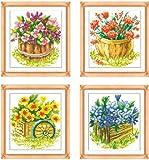 クロスステッチ刺繍キット 4画 四季-花 図柄印刷 A331