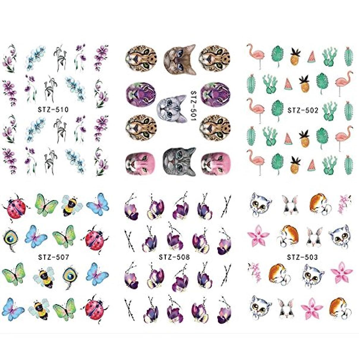 文字対抗メディックSUKTI&XIAO ネイルステッカー 12ピース花植物動物ネイルアートステッカー水転写デカールスライダータトゥーフルカバーラップツールの装飾