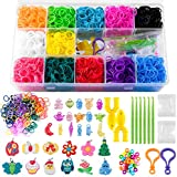 NPLUX Rainbow Loom Rubber Bands Refill Kit,Rubber Band Bracelet Making Kit with 12-Color Loom Bands S-Clips Crystal Charm Y-Loom Crochet Hooks Beads Organizer Case