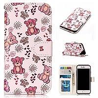 iPhone6/iPhone6s 対応 可愛い 猫 かわいい ねこ マグネット式手帳型ケース 少女風 横開き PUレザー 手帳型カバー ストラップ付き スタンド機能付き カード収納 ポケットホルダー付き アイフォン6 人気 女性 おしゃれ 薄型ケース (iphone6S/6, 可愛ベア)