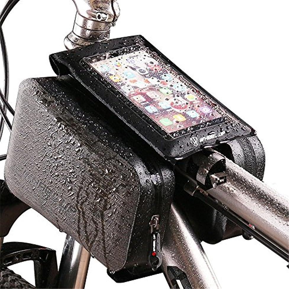気楽な最小タオルバイクフロントフレームバッグ、 自転車マウンテンバイクルーフパイプフロントパックスクエア防水タッチスクリーンライディングバッグ