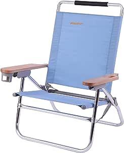 WEJOY アウトドアローチェア キャンプ椅子 ビーチ リクライニング 4段階 5段階 折りたたみ コンパクト フォールディング ブルー ガーデン 庭 (ブルー)