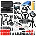 Deyard ZG-634 Accessories Kit Set with Carrying Case for GoPro Hero7 Hero (2018) GoPro Fusion GoPro Hero 6 Hero5 Session Hero Session Hero 5 Black Hero 4 Silver Black, Xiaomi SJ4000 SJ5000, AKASO Crosstour Apeman Action Camera