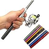 Pen Fishing Rod Reel Combo Set Premium Mini Pocket Collapsible Fishing Pole Kit Telescopic Fishing Rod + Spinning Reel Combo