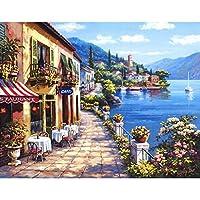 LovetheFamily 数字油絵 数字キット塗り絵 手塗り DIY絵 デジタル油絵 美しい港 40 x 50 cm ホーム オフィス装飾