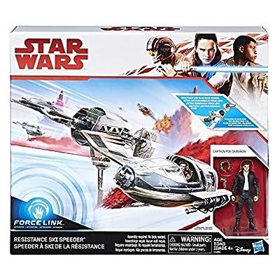 "Star Wars - The Last Jedi - Resistance Ski Speeder & 3.75"" Captain Poe Dameron Figure - Force Link compatible"