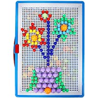Greensun TM 296pcs /設定クリエイティブモザイク画像パズルおもちゃMushroom Nailsパターンペグボードジグソー教育プラスチック爪3dパズルToy