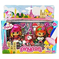 PinyPon Travel Around the World PARIS France, 2 Doll Figures, Poodle Dog pet & Accessories Playset NEW