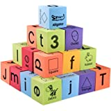 BOHS Foam Learning Blocks - Alphabets,Numbers,Shapes,Sight Words - Quiet,Safe and Float on Water Bathtub Toys,30pcs