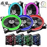 【5個セット】 疾風 RGBカラー 12cm 超静音 ファン LED チューブ リング 水冷サポート ラジエーター 空冷 1年メーカー保証 -