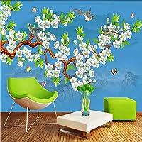 Ansyny カスタム任意のサイズの3D写真の壁紙手描きの鳥の花の壁画の中国風のリビングルームの寝室の壁紙論文家の装飾アート-360X250CM