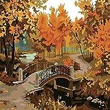 数字でDiy油絵、数字キットでペイント - 秋の橋16 * 20インチリネンキャンバス - 大人のためのデジタル油絵壁アートアートワーク上級子供高齢者ジュニア
