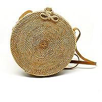 JavaCrafts Handwoven Rattan Bag Round Circle Tropical Beach Style Crossbody Woven Tote Basket Bali Bag