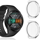 VICARA ケース Compatible with HUAWEI Watch GT2e 46mm ケース 落下防止 全面保護 装飾 脱着簡単 HUAWEI Watch GT 2e 46mm カバー 保護ケース TPU 耐衝撃性(クリア 磨き砂面)