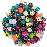 Wiz Dice Series III 100+ Pack of Random Polyhedral Dice Sets, New Neon, Pearl, Translucent, Solid, and Glitter Treatments