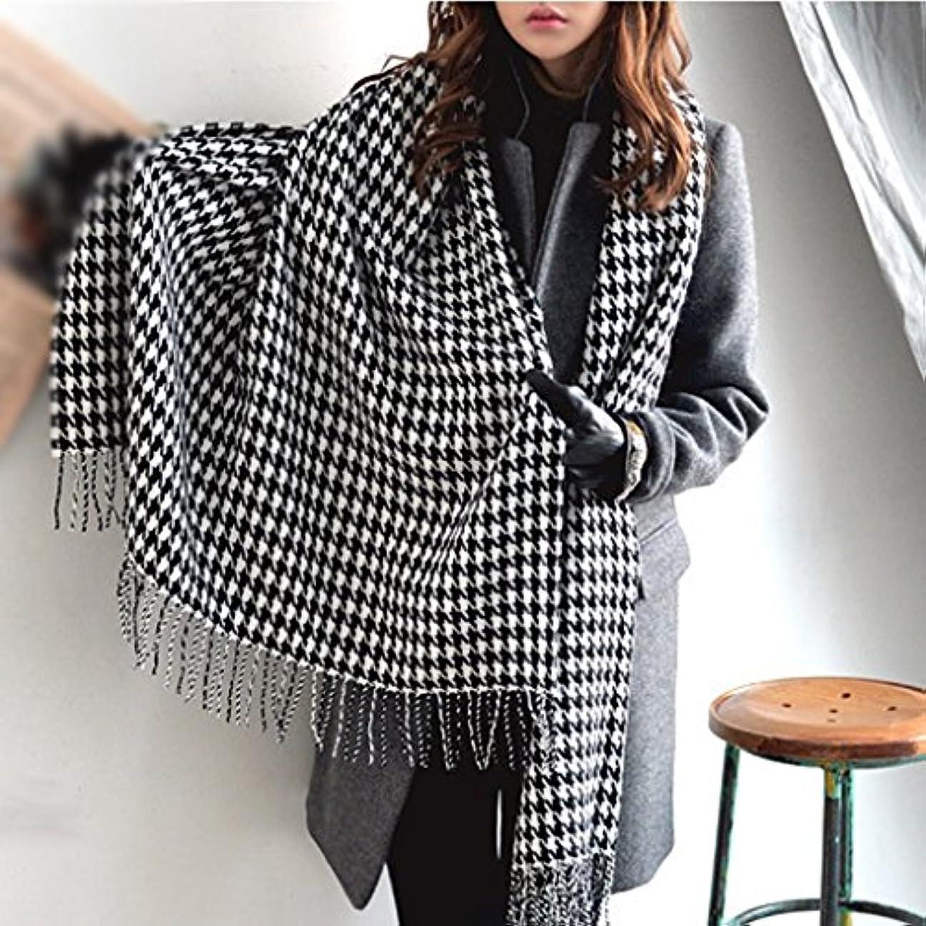 手当キリン私のGAODUZI 秋と冬Houndstoothスカーフ毛布ショールクラシック黒と白のチェック柄のヘアスカーフ
