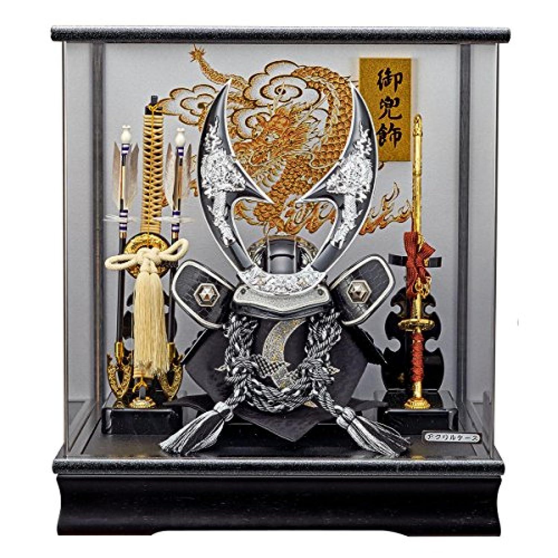 五月人形 兜ケース飾り ハヤブサ 銀 オルゴール付 アクリルケース飾り GOFO-165-763 藤翁作