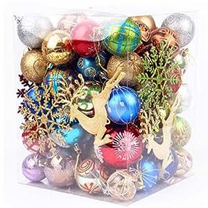 (ヤンググロり)YOGLY 雰囲気満点 北欧 インテリア ツリー 飾り 雑貨 メッキ処理 高級 おしゃれ クリスマス オーナメント ボール 70個セット クリスマス ツリー 飾り ツリー デコレーション ボール プラスチック