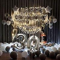 30TH (LEDライト) 誕生日バルーン デコレーション Happy Birthdayバルーン バナー シルバーとゴールドのバルーン LED 輝くライト 誕生日パーティー
