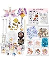 Funshowcase Resin Art Magic Potion Tube and Stopper Epoxy Shaker Silicone Mould Jewellery Casting Kit Set of 78 Supplies Glitter Confetti Crystal Glass Beads Gold Foil Inlay Steampunk Charms